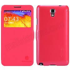samsung side flip phones. nillkin fresh series phone flip leather case for samsung galaxy note 3 neo n7505 - red side phones