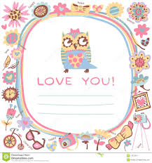 Cute Template Owls Love Cute Background Template For Design Cartoon Greeting