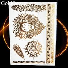 хна ганеша мандала золото металл флэш татуировка рука слон хамса цветок