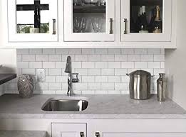 Backsplash Bathroom Ideas Adorable Amazon Vamos Tile White Subway Removable Peel And Stick Tile