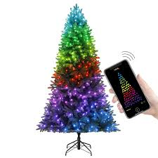 App Controlled Christmas Tree Lights Twinkly 7 5 Feet Pre Lit Aspen Pine Artificial Christmas Tree App Controlled Multi Color Rgb Lights