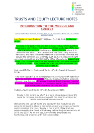 Trusts And Equity Lecture Notes Lecture Notes Lectures 1 10