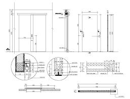 free door fixing detail dwg file cadbull