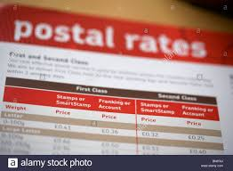Royal Mail Postage Rates Chart Close Up Photo Of Royal Mail Postal Rates Chart Stock Photo