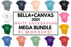 Bella Canvas 3001 T Shirt Mockup Bundle All Colors On White