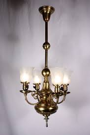 sold splendid antique four light brass victorian chandelier 19th century