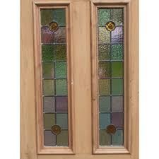 sd057 victorian original 4 panel exterior door with soft colour tone stained glass