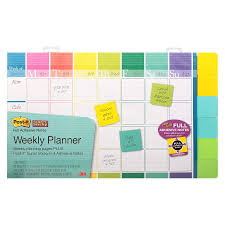 Post It Weekly Planner Plus Super Sticky Adhesive Notes Assorted