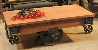 edison rail cart coffee table with wheels