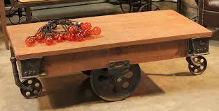 edison rail cart coffee table with wheels
