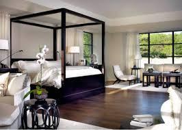 Zen modern island bedroom design with black wood canopy bed, crisp ...