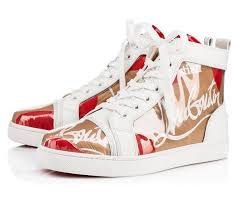 new 2019 mens womens letter logo genuine leather high top sneakers brand design red bottom casual