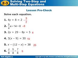 holt algebra 1 2 3 solving two step and multi step equations lesson