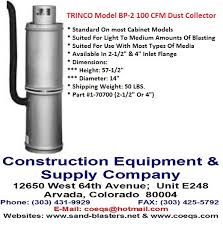 Dust Collector Cfm Chart Trinco 100 70700 Model Bp 2 100 Cfm Dust Collector