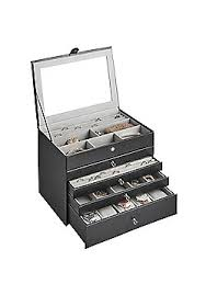 women s jewellery watches jewellery box tesco beautify 5 tier faux leather jewellery box 4 drawers black snake skin print