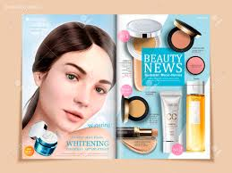 refreshing cosmetic brochure design skincare and makeup s on magazine or catalog for design uses