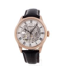 mens rotary vintage mecanique skeleton automatic watch gs02942 01