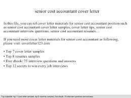Accounting Cover Letter Examples Cost Accountant Cover Letter