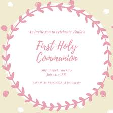 first communion invitation templates pink white simple girl first communion invitation templates by canva