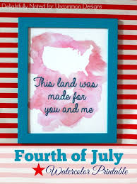 Fourth of July Watercolor Printable - Uncommon Designs