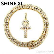whole mens iced out hip hop gold artificial diamond ankh cross lab diamond 1 row tennis chain 24 inch bling jewelry silver heart necklace pendants for