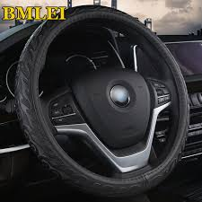 genuine leather steering wheel covers 3d fire pattern design top quality steering wheel cover case auto car interior accessories