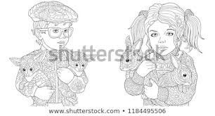 Girl Boy Coloring Pages Coloring Book Stock Vector Royalty Free