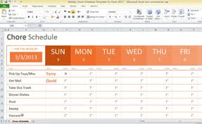 Excel Schedule Chart Template Weekly Chore Schedule Template For Excel 2013