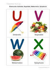 Each word (code word) stands for its initial. Alphabet Flashcards Uvwx Free Printable Worksheets For Kids