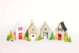 christmas house template paper holiday houses free templates