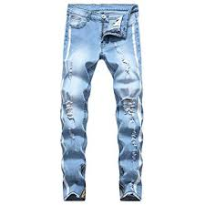 Pervobs Mens Personality Hole Hollow Zip Pocket Jeans Pant