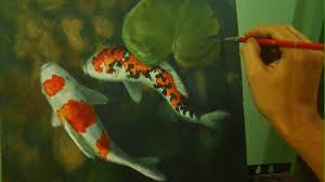 acrylic painting tutorial koi fishes in shallow water by jm lisondra you