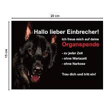 Hundeschild Schä Ferhund Warnschild Warnung Lustig Achtung 20x15 Cm