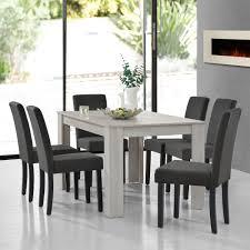 Encasa Esstisch Eiche Weiß Mit 6 Stühlen Grau Textil