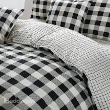 black and white duvet covers. Simple Black Black And White Plaid Pattern Cotton 4Piece Bedding SetsDuvet Cover  Intended And Duvet Covers T