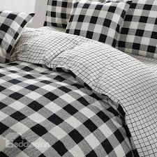 black and white plaid pattern cotton 4 piece bedding sets duvet cover