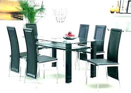glass dining table set 6 chairs round room sets for luxury top stunning black and faux