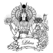Fototapeta Znamení Váhy Egyptská Bohyně Isis Vyvažování V Rukou černé A