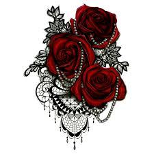 Velké červené Růže Vodotěsné Dočasné Tetování Muži Tatuajes