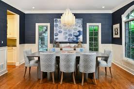 blue grey dining rooms. Modern Inspiring Blue Dining Room Decorated Grey Chair And Table Glamorous Chandelier Equipped Window Rooms M