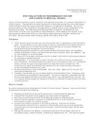 Med School Recommendation Letter Cover Letter Database