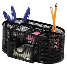 office paper holders. Mesh Pencil Cup Organizer, Four Compartments, Steel, 9 1/3 X 4 1/2 4, Black Office Paper Holders