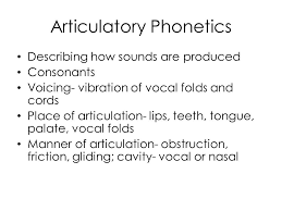 Articulatory Phonetics Chart Chapter 3 Phonetics Ppt Video Online Download