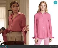 WornOnTV: Emily's pink blouse with flared cuffs on Designated Survivor    Italia Ricci   Clothes and Wardrobe from TV