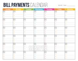 Bill Calendar Template Bill payment calendar template essential screenshoot payments 1
