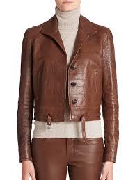 lyst ralph lauren black label marissa croc embossed leather jacket in brown