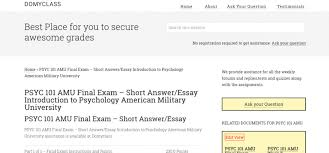 Introduction To Psychology Essay Psyc 101 Amu Final Exam Short Answer Essay Introduction To