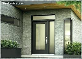 black front door with glass square