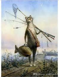 arts crafts gifts painting supplies linen landscape digital oil painting hand painted fishing cat painting canvas brush paint arts crafts gifts painting