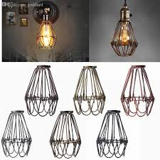 2019 whole retro vintage industrial lamp covers pendant trouble light bulb guard wire cage ceiling fitting hanging bars cafe lamp shade from dard